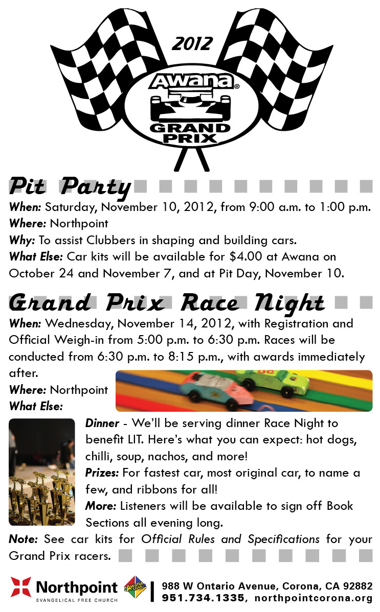 Grand Prix Flyer 2012 Northpoint Evangelical Free Church
